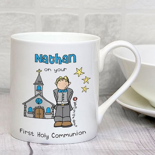 Personalised Bang On The Door First Holy Communion Boys Mug